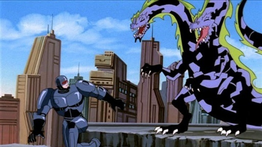Yes, that is R-rated hero Robocop fighting some sort of bizarre hydra. Someone approved this.