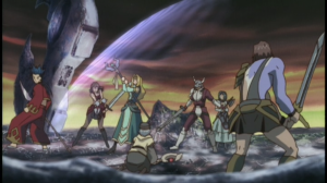 The characters of .Hack//Sign: (from left to right) Crim, Mimiru, BT, Tsukasa, Silver Knight, Subaru, and Bear.