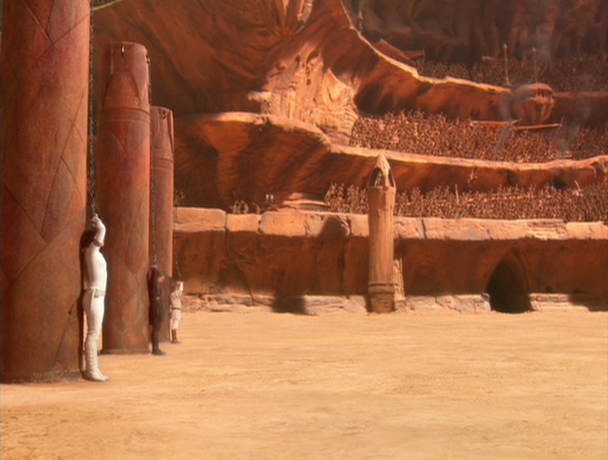 Here we have Obi-Wan, Anakin, and the-not-yet-mother of the Skywalker twins, Padme, about to be executed. What are the odds that any of them will even be injured?