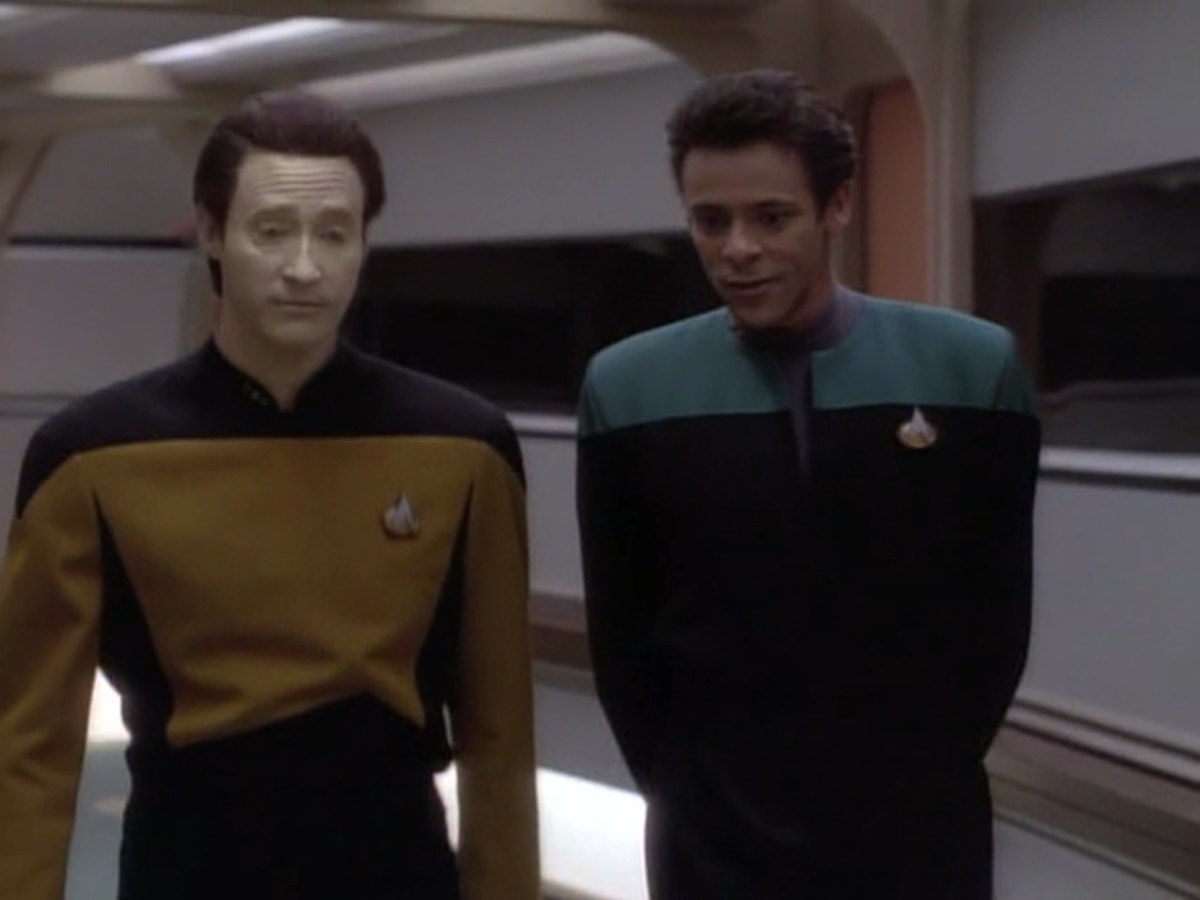 "Data and Bashir hang out while the Enterprise-D visits Deep Space 9 in ""Birthright, Part I."""