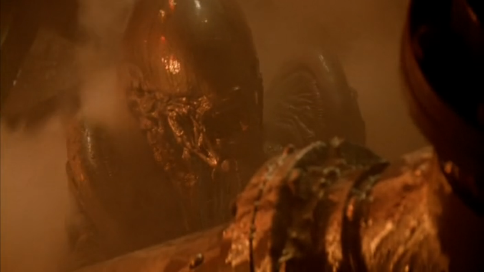 The movie's just a mess of different ideas and recycled sets. Even the alien was changed up to be more quadripedal.