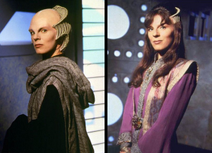Delenn's before (left) and after (right) looks. The hair is certainly more attractive, at least...