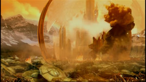 Destroyed capital on Gallifrey, surrounded by crashed Dalek saucers.