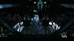 The Omec ship, as seen in the closing seconds of the episode.