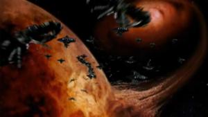 The Neitzchean fleet swarms away, leaving the Andromeda helplessly frozen.