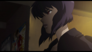 Motoko's cybernetic body is second only to her iron will.
