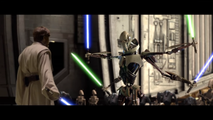 Shot of General Grievous from the Star Wars Prequels.